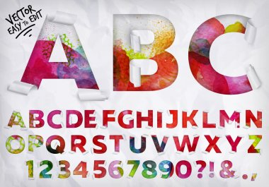 Alphabet wrapped edge of the letters cut out from crumpled paper on watercolor background clip art vector
