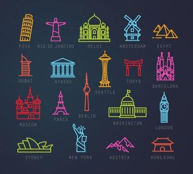 City flat neon icons