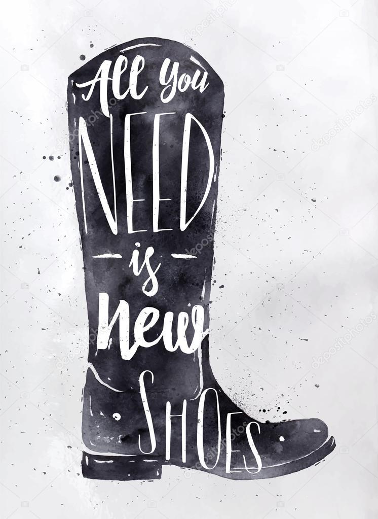 Cartel botas negro — Archivo Imágenes Vectoriales © anna42f #98209508