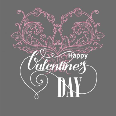 Valentines day card with floral elements