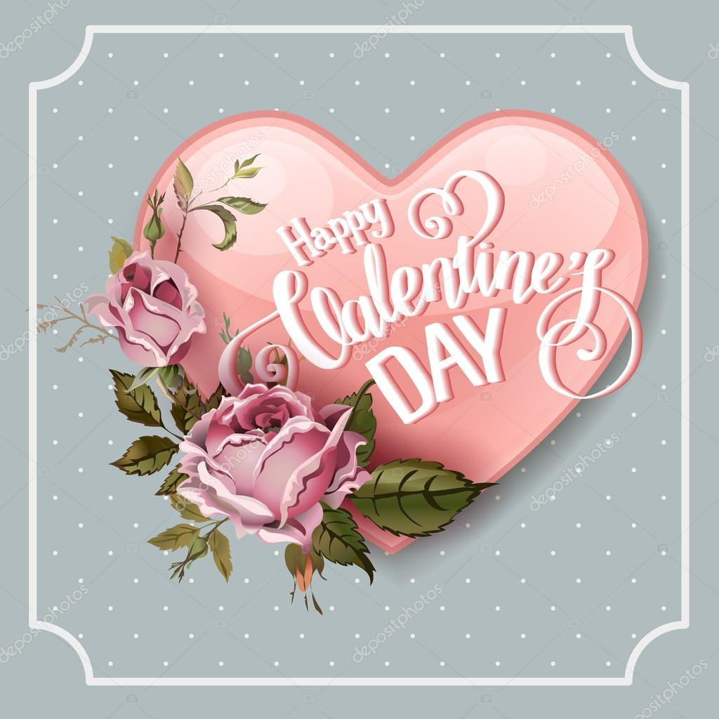 Vintage Valentines Day Greeting Card Stock Vector C Sonulkaster