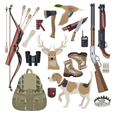Hunting icon set design elements.