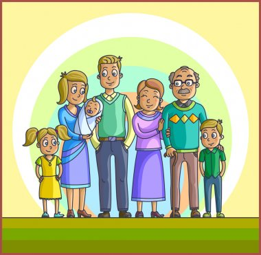 Big Happy Cartoon Family.