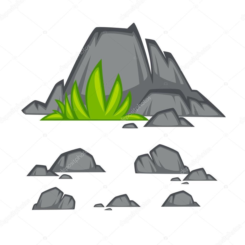 Piedras de roca plana estilo de dibujos animados archivo for Dibujo de una piedra para colorear