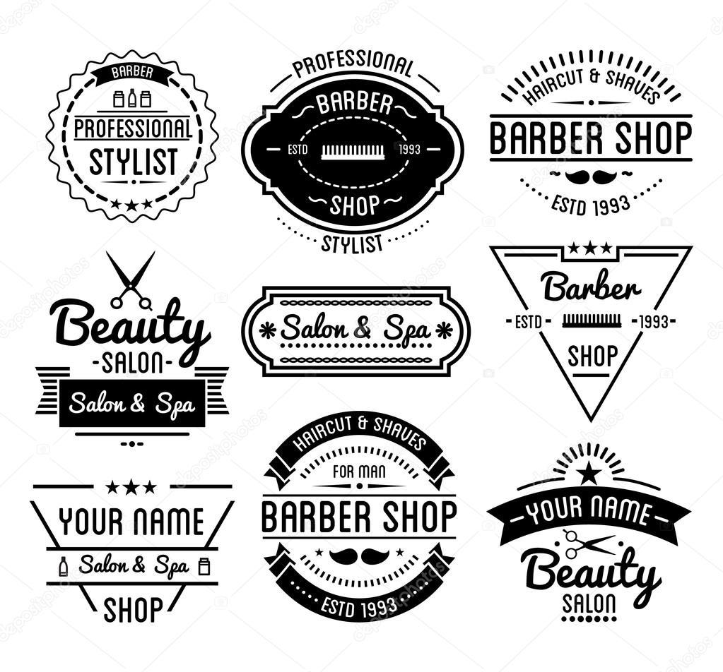 Conjunto de vindima barbeiro loja logos e emblemas de salão de beleza de  spa de beleza. Elementos do vetor. Ícones isolados no fundo branco — Vetor  de ...
