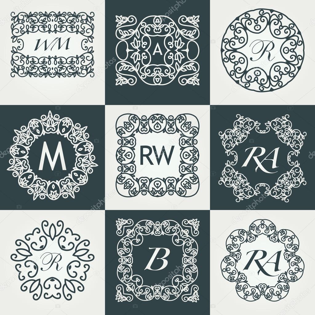 big set of luxury monograms stock vector sonulkaster 120105368