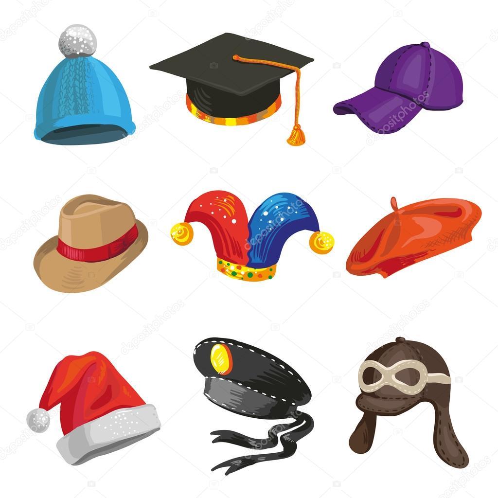 set of cartoon police and joker hats. — stock vector © sonulkaster