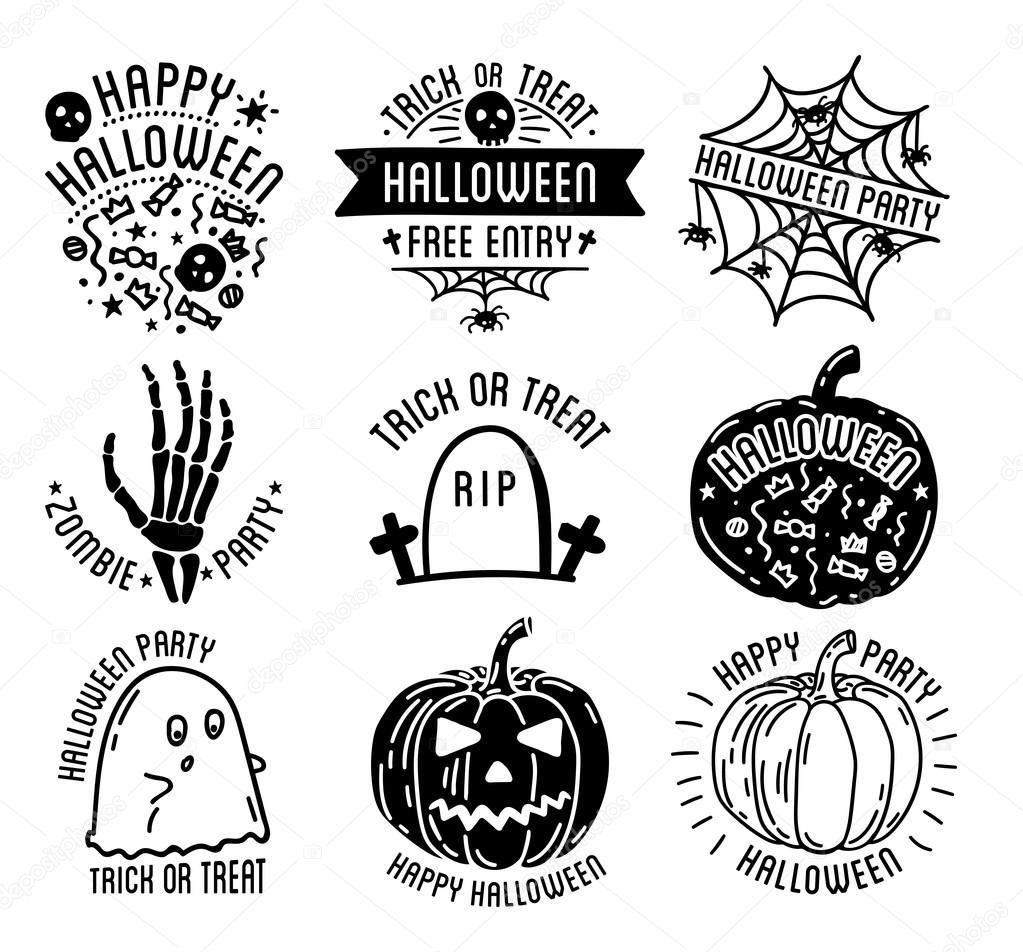 Happy Halloween logo with curving pumpkins — Stock Vector ...