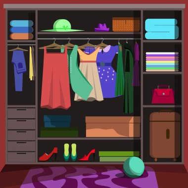 Closet with fashion clothes.