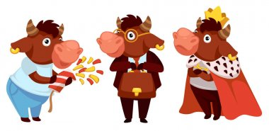 Funny animal character wearing king costume. Ox working as advocate or businessman. Bull celebrating new 2021 year or christmas. Winter holidays and happy occasions and fun. Vector in flat style stock vector