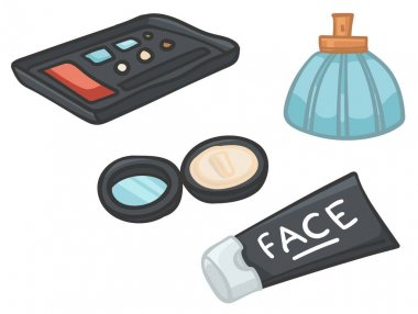 Travel kit for females, powder and perfume in bottle, fragrant and aromatic water. Isolated icon of facial moisturizing gel or cream, skin care in trips and voyages traveling. Vector in flat style icon