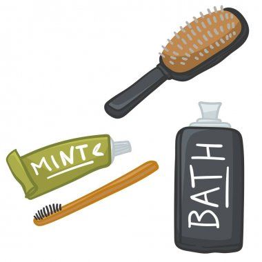 Preparing personal belonging for traveling, hair comb and toothbrush with paste. Isolated lotion or cream for bathing. Moisturizer and cosmetics for body, travel kit set. Vector in flat style icon