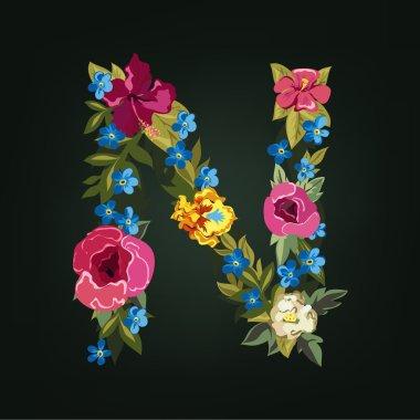 N letter. Flower capital alphabet