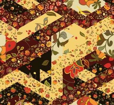 Patchwork pattern with flowers