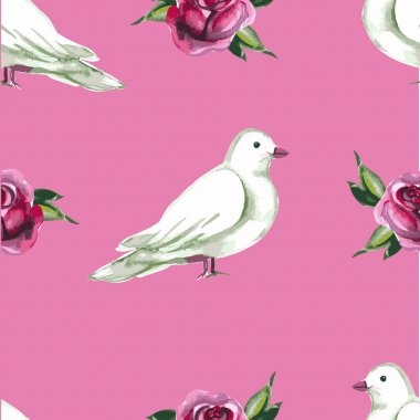 Watercolor seamless pattern with white doves