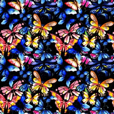 Watercolor butterfly seamless pattern