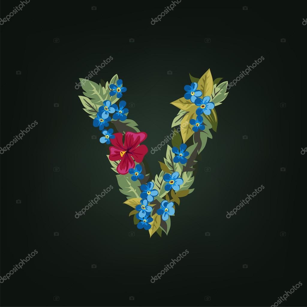 V letter flower alphabet stock vector sonulkaster 91571230 v letter flower alphabet stock vector thecheapjerseys Gallery