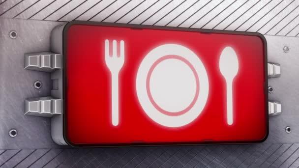 Ikona večeře na vývěskách.