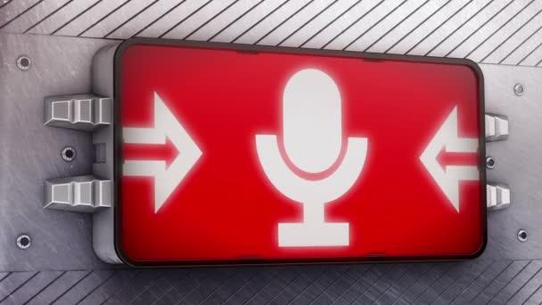 Mikrofonsymbol auf dem Schild — Stockvideo © PirenX #96588538