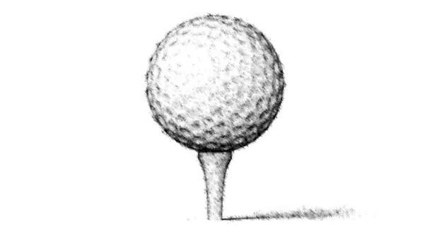 Tažené golfball na bílém pozadí. Opakování