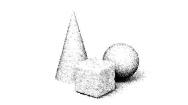 Tažené geometrie na bílém pozadí. Opakování