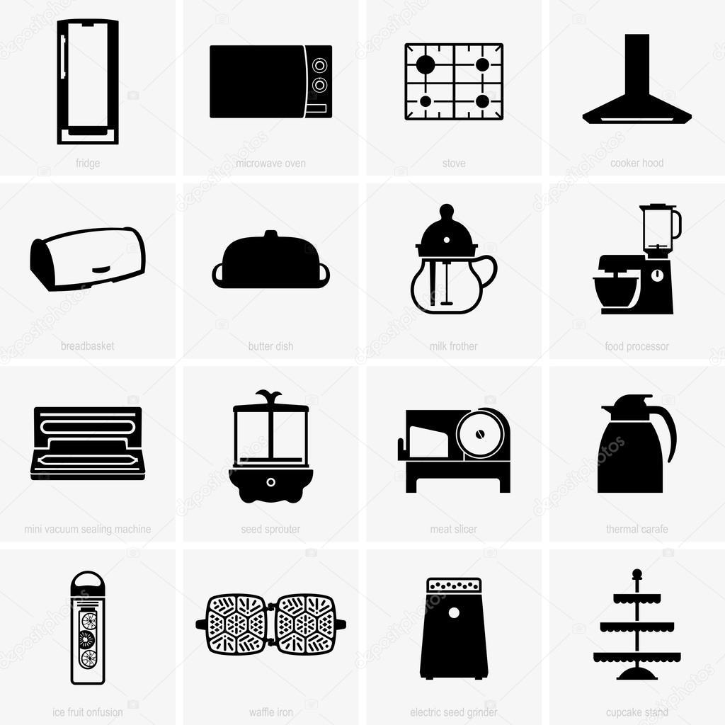 Oggetti da cucina, immagini dello schermo — Vettoriali Stock © Den ...