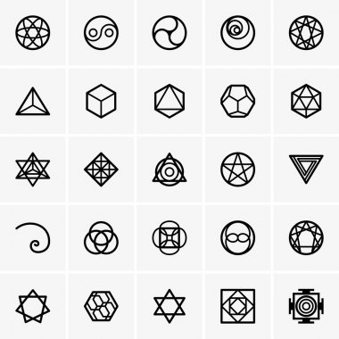 Set of Sacred geometry icons stock vector