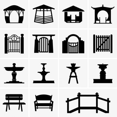 Arbors, gates, fountains, benches