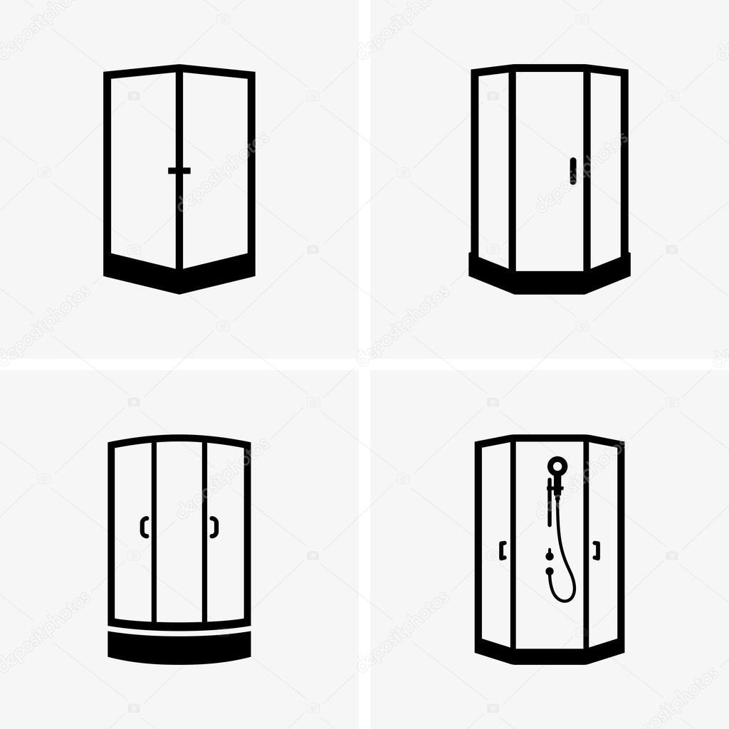 Icone di cabina doccia vettoriali stock den barbulat for Piani di cabina 32x32
