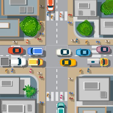 Urban crossroads with cars