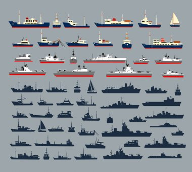 silhouettes of ships