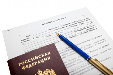 Russian employment contract as sales Manager with your passport and pen