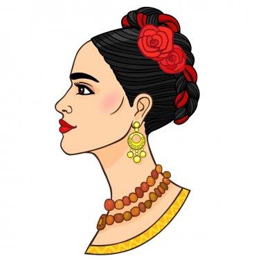 Woman's portrait. Profile view.