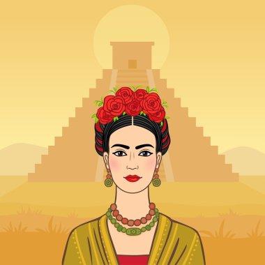 Mexican woman on a pyramid Maya background.