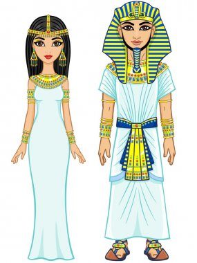 Animation Egyptian imperial family in ancient clothes. Full growth. Isolated on a white background.