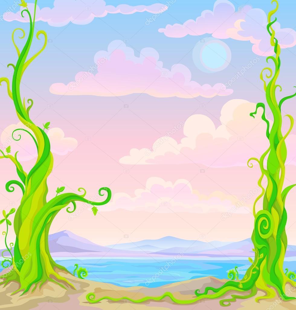 fairy tale landscape: mountains, sea and fantastic plants