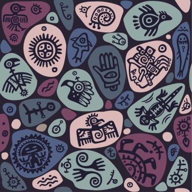 Seamless ethnic ornament. Hieroglyphs. Indians Maya.