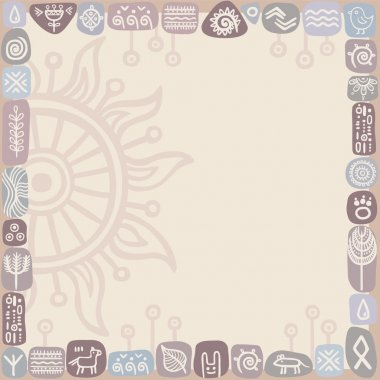 background in ethnic style from flora and fauna elements