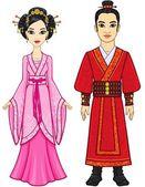 Fotografia Ritratto di unanimazione famiglia cinese in vestiti tradizionali. Sviluppo completo. Isolato su sfondo bianco