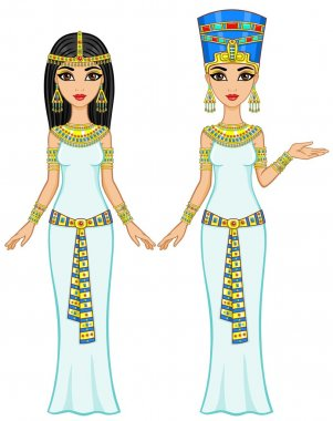 Animation Egyptian princesses in different poses. Full growth. The vector illustration isolated on a white background.