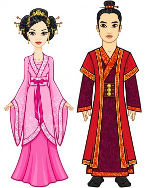 Portrait of an animation Chinese family in traditional clothes. Full growth. Isolated on a white background.