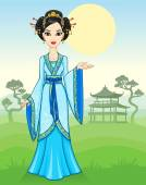 The animation Asian girl in a traditional dress on a mountain landscape. Vector illustration.