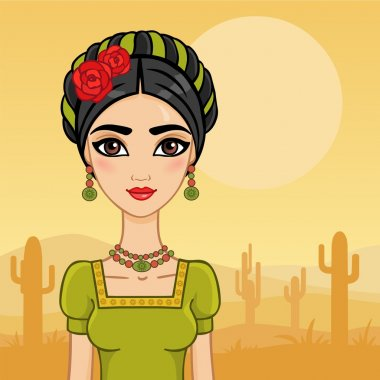 Mexican girl in the desert with cactus.