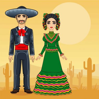 Mexican family in traditional festive clothes. Background the desert with a cactus.