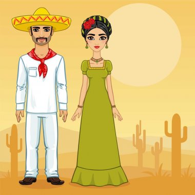 Mexican family in vintage clothes. Background the desert with cactus.