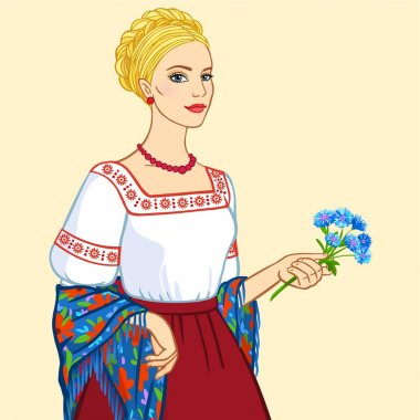 Woman of Slavic appearance in ancient clothes, a portrait isolated on a beige background