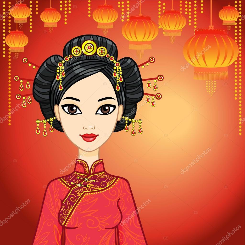 Chinesische Madchen In Traditioneller Kleidung Und Eine Festliche