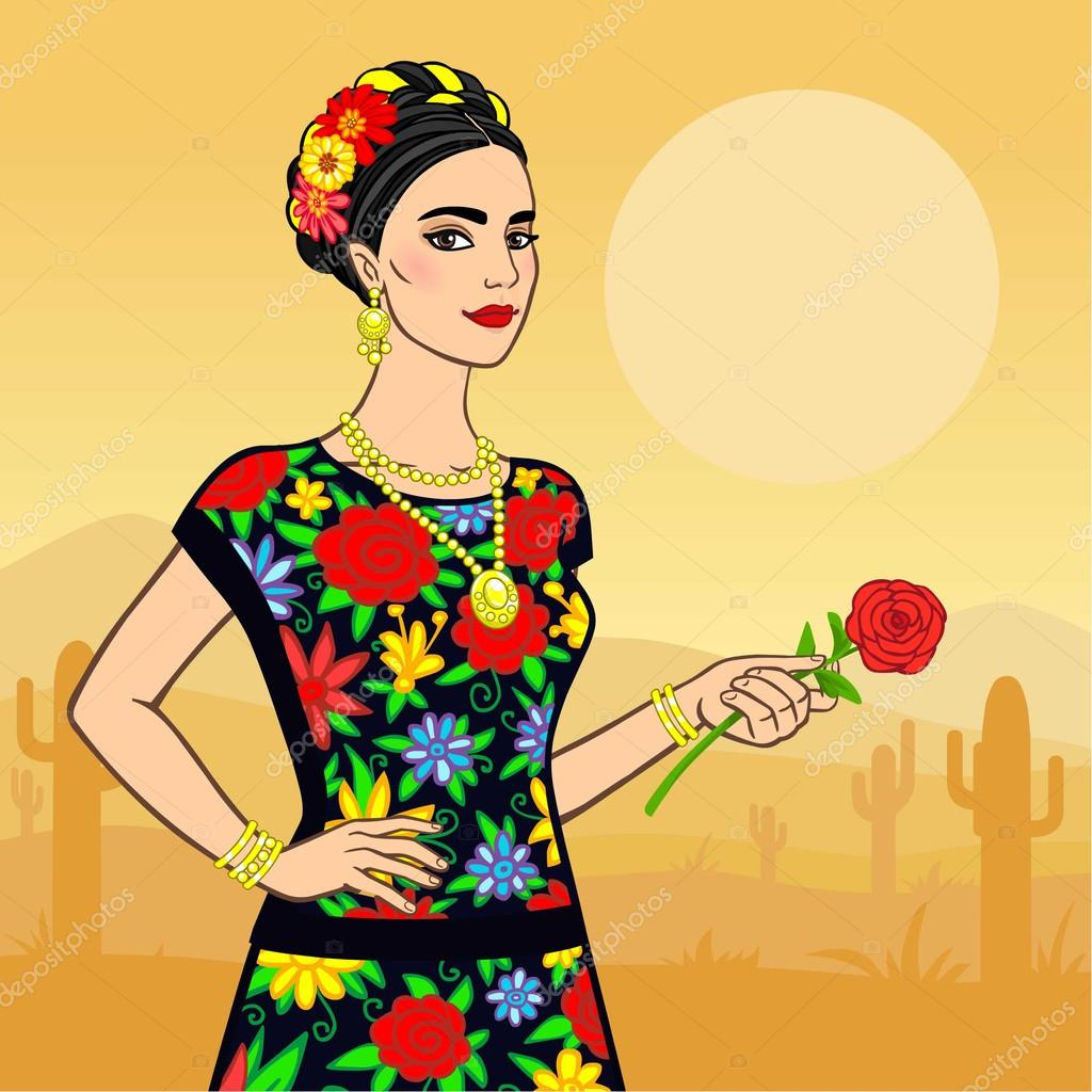 Beautiful Mexican woman in a national clothes. Background - the desert.