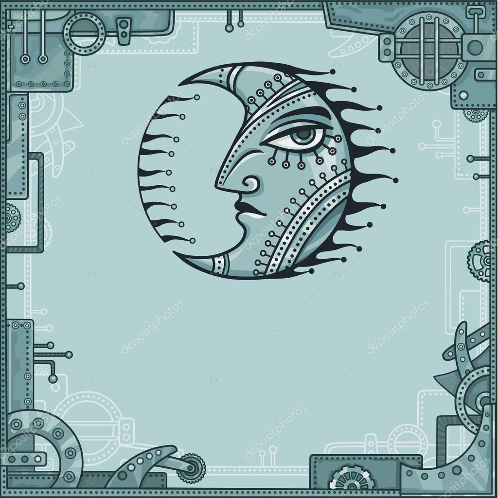Fantastic image of iron moon. Metal amulet. A background - a frame ...