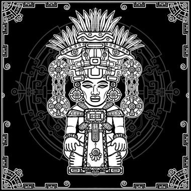Linear drawing: decorative image of an ancient Indian deity. Magic circle. Black and white vector illustration.